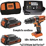 BLACK+DECKER 18 V LITHIUM COMBI HAMMER DRILL WITH KiIT BAG and 2 Batteries