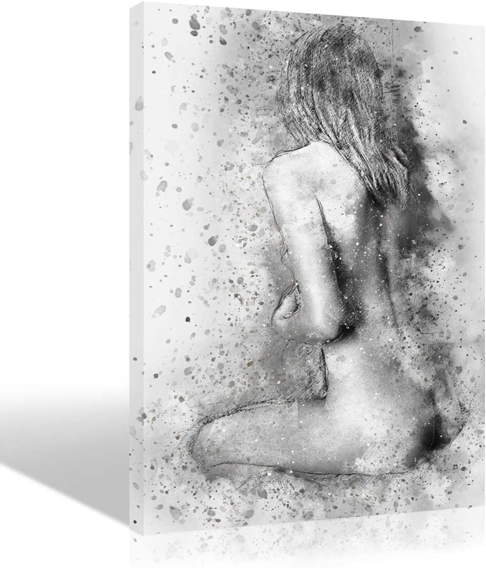 Sexy Woman Picture Nude Body Oil Painting Wall Art Sex Girl Back Hand Painted Black and White Sketch Artwork for Bedroom Living Room Modern Handmade Drawing Handwork Decoration Home Decor,Framed,16×24