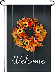 Shmbada Welcome Fall Burlap Garden Flag, Double Sided Premium Material, Seasonal Autumn Pumpkins Sunflowers Wreath Maple Leaves Home Outdoor Decorative Flags for Yard Lawn Patio, 12.5 x 18.5 inch