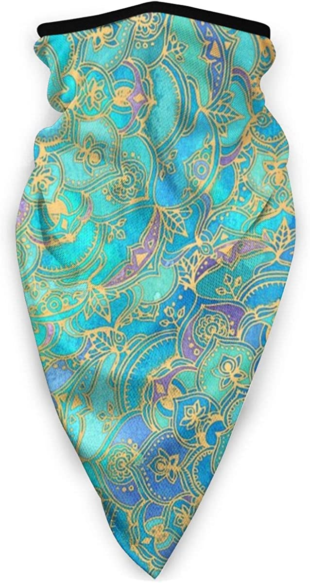 Wind-Resistant Face Mask/& Neck Gaiter,Balaclava Ski Masks,Breathable Tactical Hood,Windproof Face Warmer for Running,Motorcycling,Hiking-Sapphire Jade Stained Glass Mandalas
