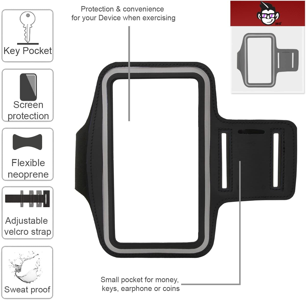 BLACK IWIO Premium Adjustable Strap Armband Phone Case Holder for Jogging//Running//Fitness//Gym Workouts//Outdoor Sports includes Money Pocket for Huawei P20 Lite 2018