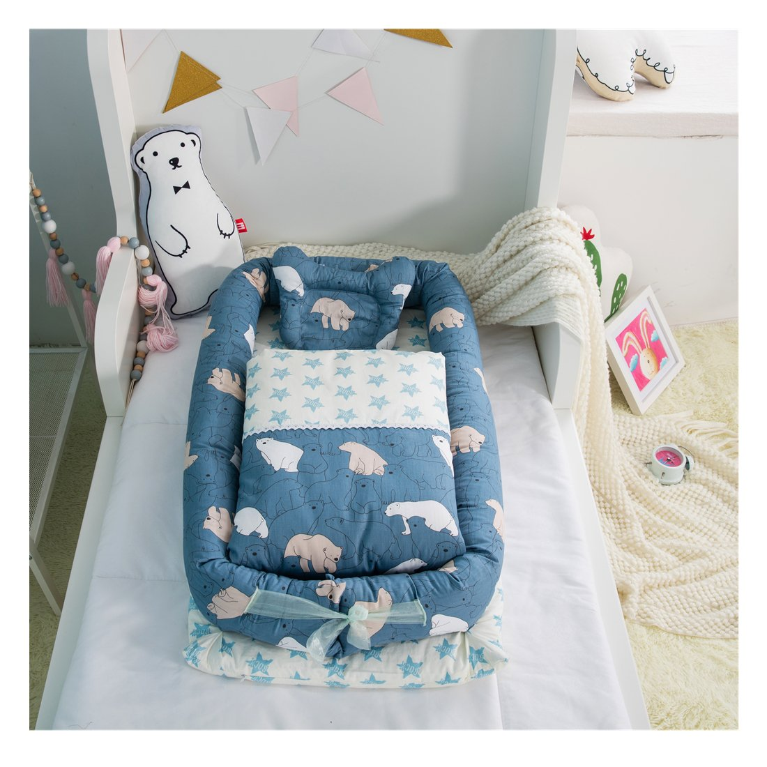 Cotton Detachable Baby Nest, Quilt and Pillow for 0-24 Months Baby (Squirrel) BestBang
