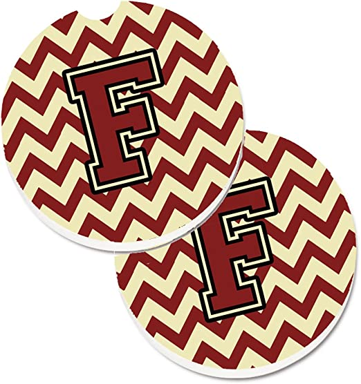 2.56 Carolines Treasures Letter F Chevron Maroon /& Gold Set of 2 Cup Holder Car Coasters CJ1061-FCARC Multicolor
