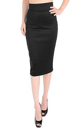 LeggingsQueen High Waist Stretch Basic Pencil Skirt at Amazon ...