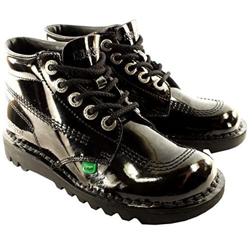 dc7d67c74aad Unisex Kids Youth Kickers Kick Hi Black Patent Back To School Boots Shoes   Amazon.co.uk  Shoes   Bags
