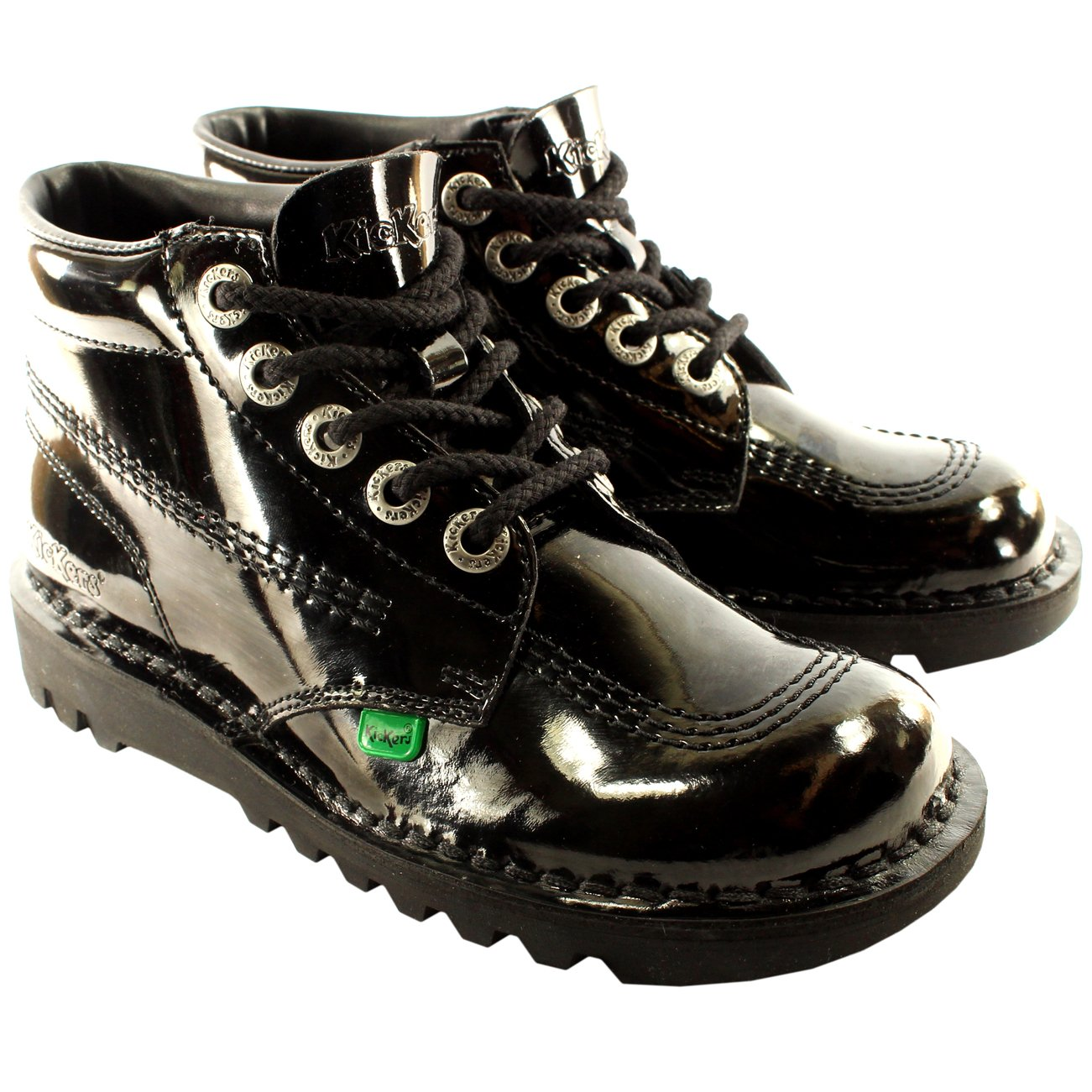 Kickers Unisex Kids Youth Kick Hi Black Patent Back To School Boots Shoes - Black - 5.5