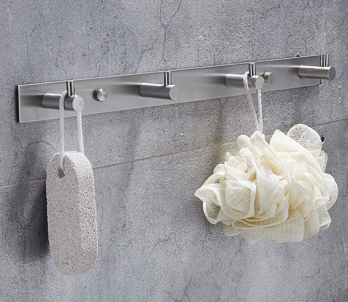 Brushed Finish Bathroom Lavatory 3 Hooks Towel Hook Rail//Rack Wall Mount SUS304 Stainless Steel