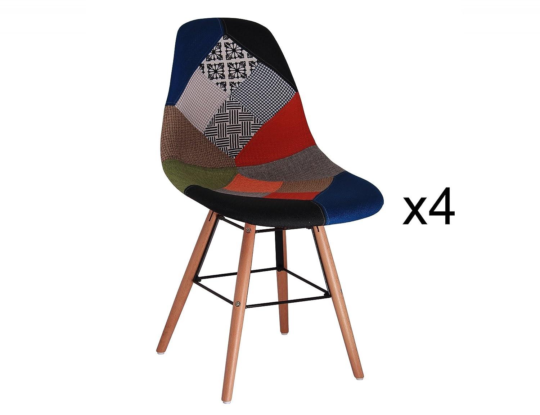 Mobilier Deco Lot de 4 chaises Scandinave Patchwork