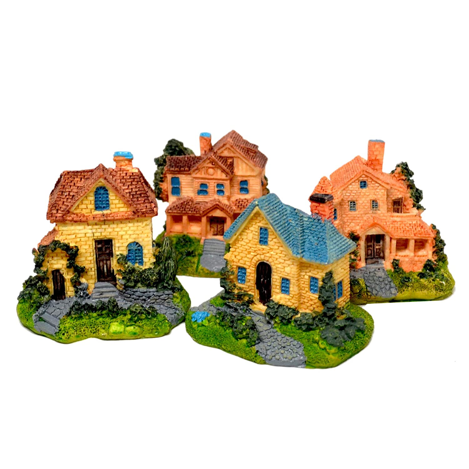 Pixie Glare Miniature Houses. Colonial Detailed Realistic Look (4 Pack)
