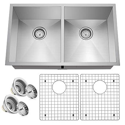Miligore 32  x 19  x 10  Deep Double Bowl (50/50 Split) Undermount Zero Radius 16-Gauge Stainless Steel Kitchen Sink - Includes Drains/Grids - - Amazon.com  sc 1 st  Amazon.com & Miligore 32