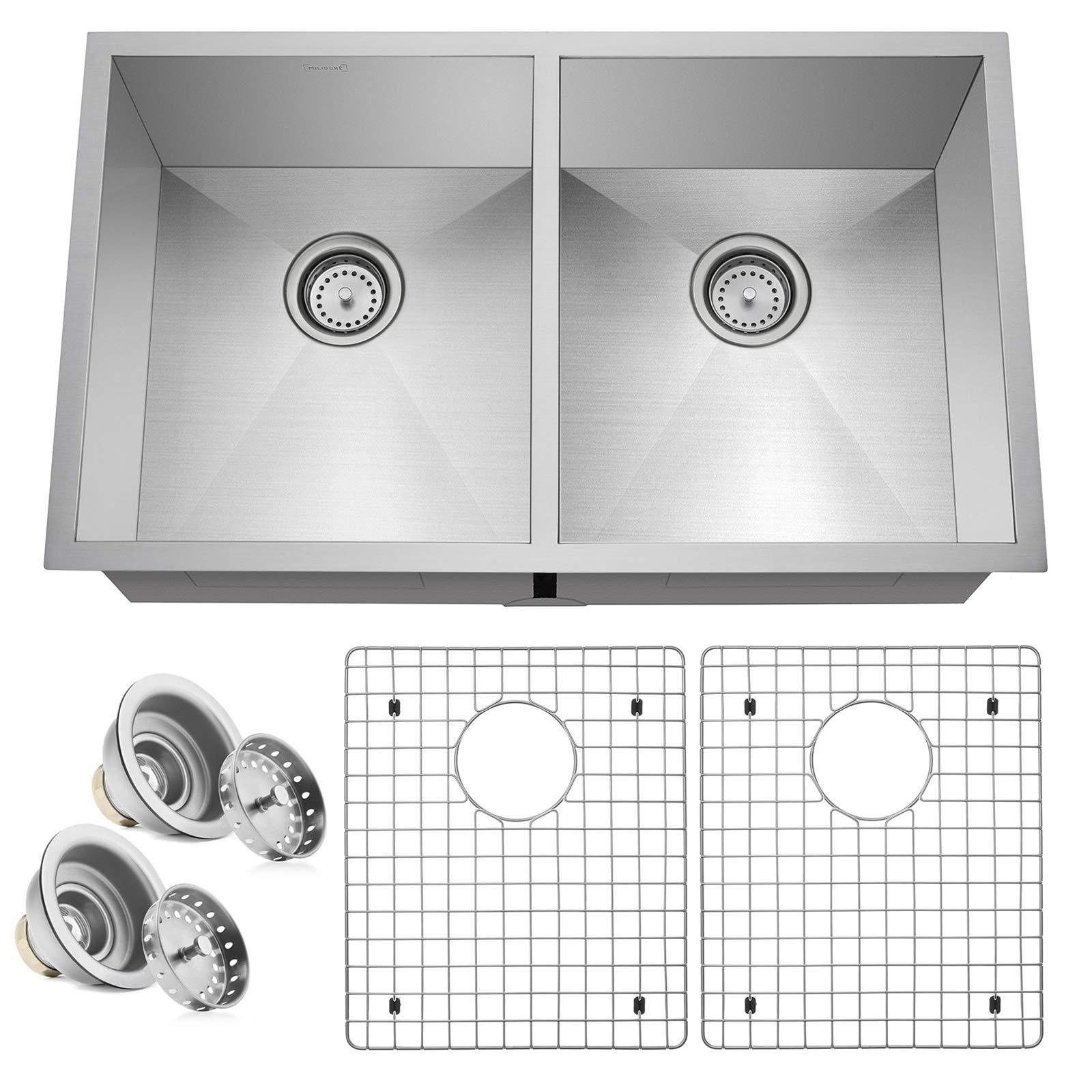 Miligore 32'' x 19'' x 10'' Deep Double Bowl (50/50 Split) Undermount Zero Radius 16-Gauge Stainless Steel Kitchen Sink - Includes Drains/Grids