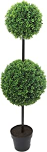 "Admired By Nature GTR7679-GREEN Tall Artificial Boxwood Double Ball Shaped Topiary Plant Tree in Plastic Pot, Green, 46"" H"