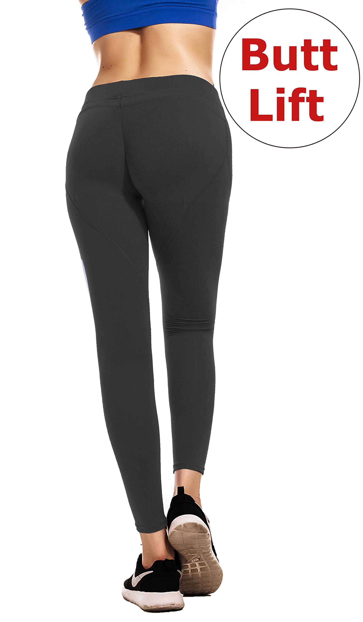 RUNNING GIRL Sexy Butt Lift Leggings Scrunch Butt Push up Leggings Yoga Pants for Women Shapewear Skinny Workout Tights(1068Black,L)