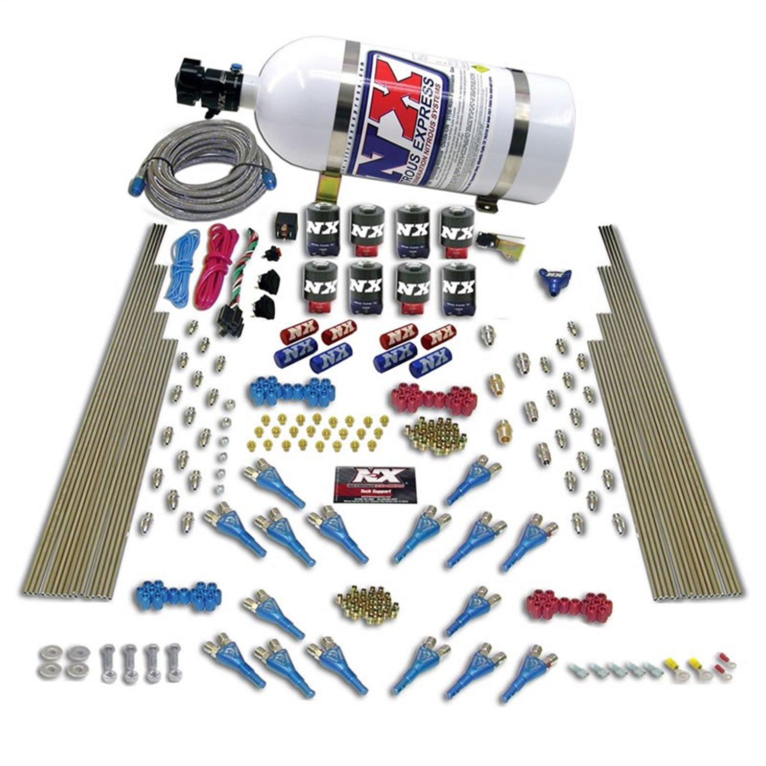 Nitrous Express 90008-10 200-1200 HP Gasoline Shark Dual Stage Direct Port System with 16 Nozzles, 8 Solenoids and 10 lbs. Bottle