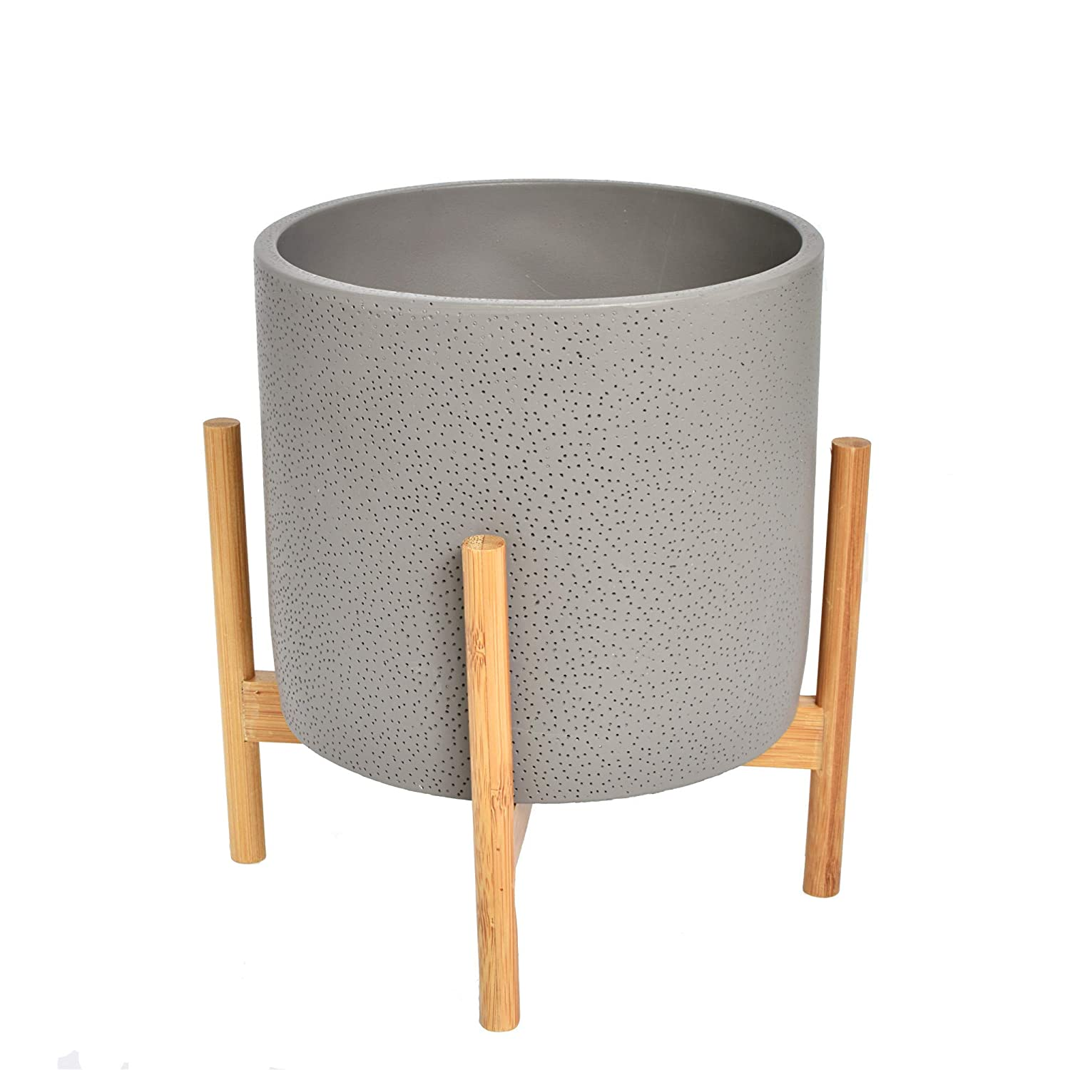 Amazon NCYP Gray Cement Planter Pot with Bamboo Stand Set