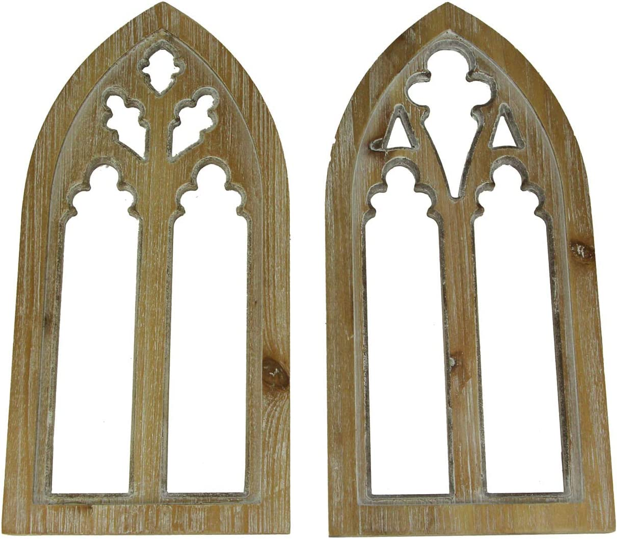 PD Home & Garden Whitewashed Wood Gothic Arch Window Frame Wall Decor 2 Piece Set