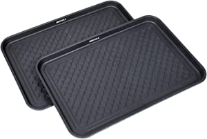 "GREAT WORKING TOOLS Boot Trays - Set of 2 Black All Weather Heavy Duty Shoe Trays, Pet Bowl Mats Trap Mud, Water and Food Mess to Protect Floors - Black, 23.75"" x 15.5"" x 1.25"""