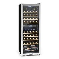 Klarstein Vinamour 54D • Weinkühlschrank • Getränkekühlschrank • Gastro-Kühlschrank • 2 Zonen • 148 Liter • 54 Flaschen • 8 Holzeinschübe • LED-Beleuchtung • sehr leise • LCD-Display • Touch-Bediensektion • verstellbare Standfüße • schwarz-silber