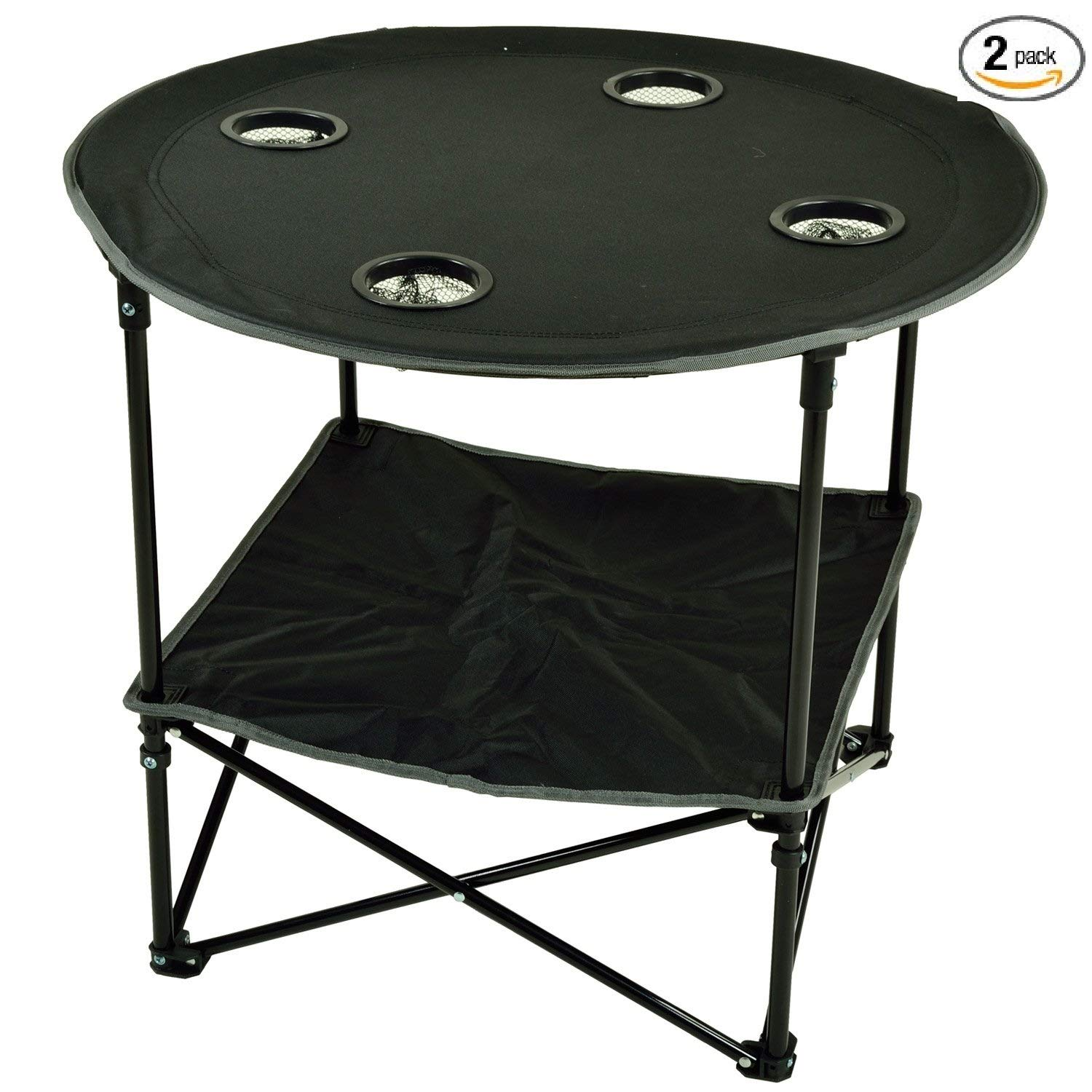 Picnic at Ascot Travel Folding Table for Picnics and Tailgating, Black - Pack of 2