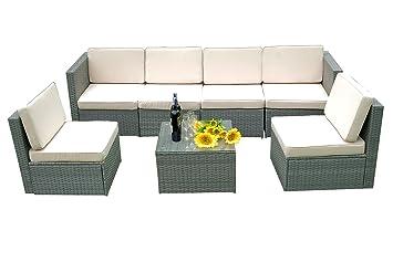 amazon com mcombo 7 pc deluxe outdoor garden patio rattan grey rh amazon com deluxe garden furniture deluxe garden furniture uk
