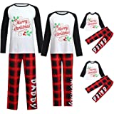 GzxtLTX Christmas Family Matching Pajama Set Daddy Mommy and Me Merry  Christmas Letter Printed Plaid Nightwear 1e289d7e7