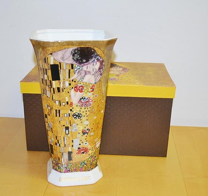 """Atelier Harmony vaso in porcellana con motivo /""""Il bacio/"""" di Gustav Klimt Beige//oro"""