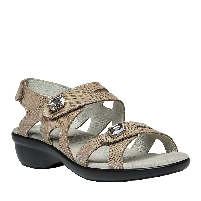 Propet Women's Cheryl Leather, Foam, Polyurethane Wedge Sandals B0118BW4XU 9.5 B(M) US|Champagne Foil