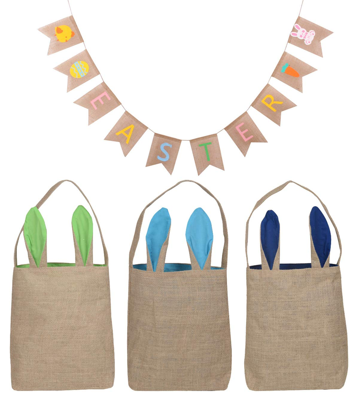 KEFAN 3 Pack Easter Bunny Bags and Easter Easter Bunny Baskets Yute Burlap Bunny Ear Tote Bags
