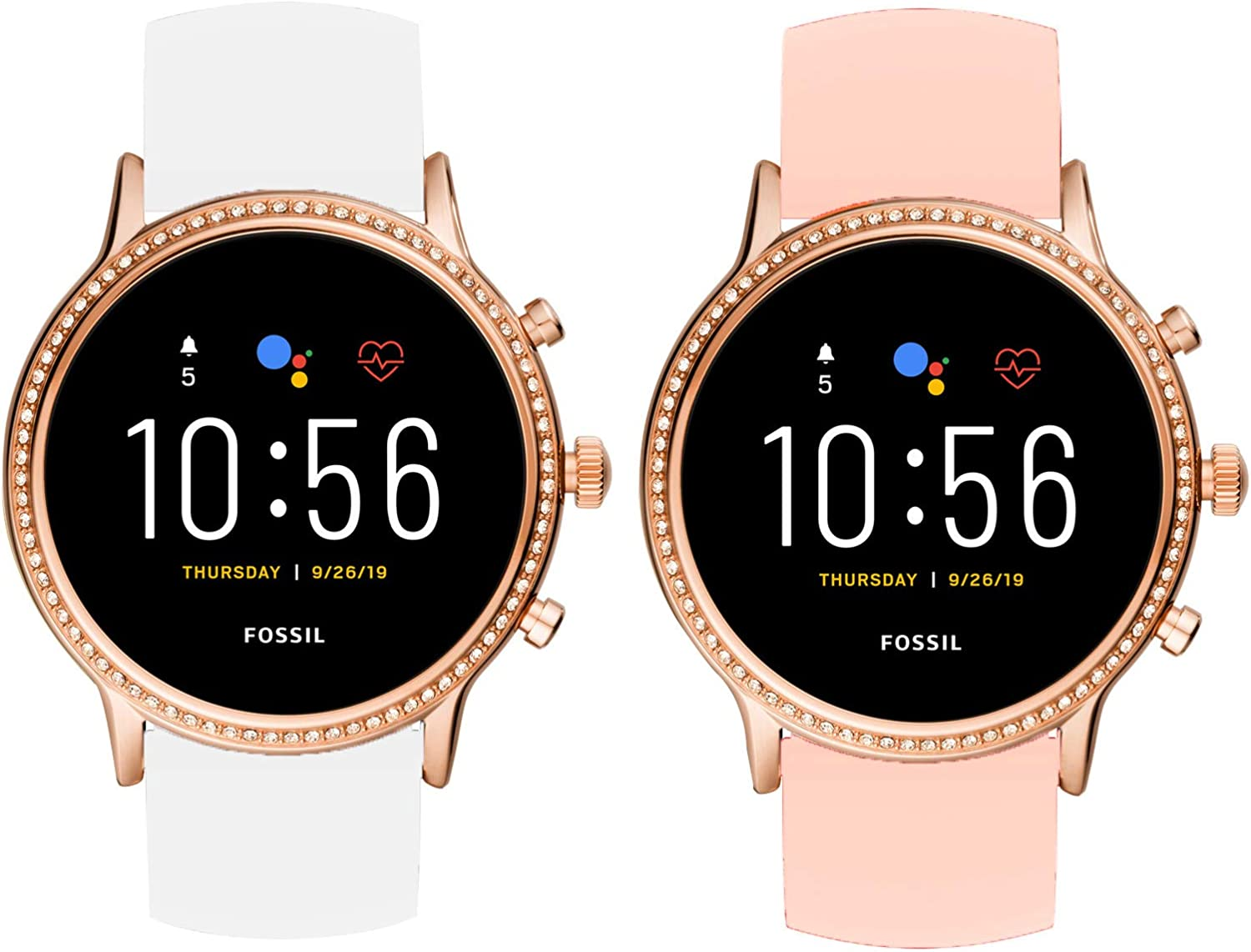 for Fossil Julianna Hr Bands, Blueshaw Sport Silicone Replacement Strap for Fossil GEN 5 SMARTWATCH - Julianna HR (2 Pack-White+Pink)