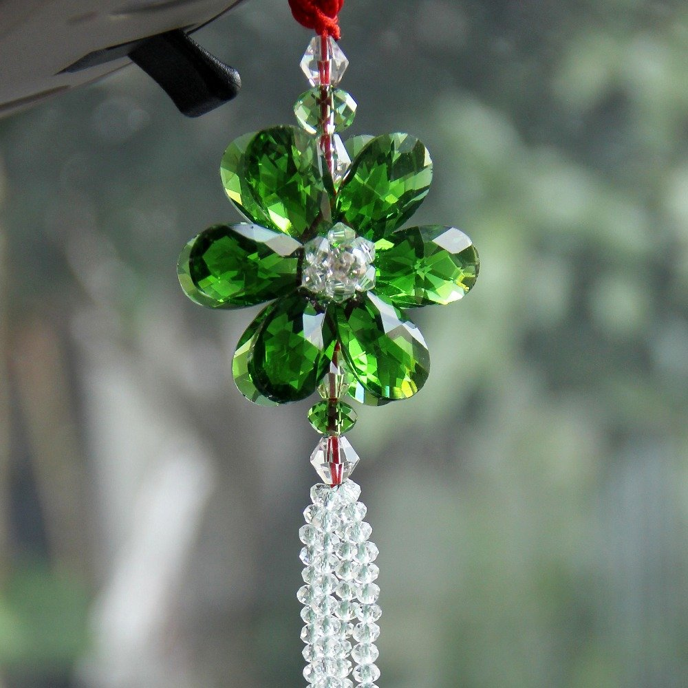 Daphot-Store - Luxury Lucky Blessing Flower Crystal Car Styling Colorful Car Pendant Car Accessories Hanging Ornament For Car Rearview Mirror