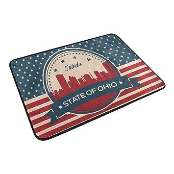 Vintage American Flag Ohio State Toledo Skyline Home Decor Non Slip Doormat  Floor Door Mat