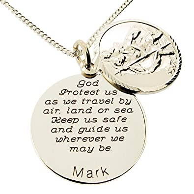 5c8663191 Sterling Silver Personalised Double Disc St Christopher With Travellers  Prayer In Gift Box
