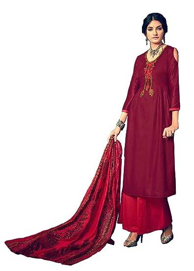 Buy Madeesh Pakistani Suit For Women Winter Collection Dress Material Pashmina Self Embroidery Top Pashmina Bottom Beautiful Printed Pashmina Shawl Pakistani Style Designer Salwar Suit In Pashmina For Girls New Arrival At