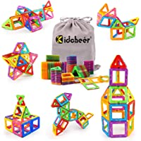 KIDCHEER Magnet Building Tiles, 64PCS Magnetic 3D Building Blocks Set for Kids, Magnetic Educational Stacking Blocks…