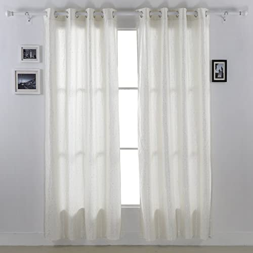 Deconovo Top Grommet Taffeta Window Curtain with Glittering Sequins for Living Room 52 x 95 , Rice White -1 Pair
