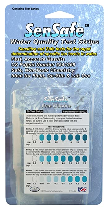 0-25ppm Range Inc Pack of 50 Sensafe 1 Minute and 20 Seconds Test Time Industrial Test Systems SenSafe 480602 Free Chlorine Test Strip
