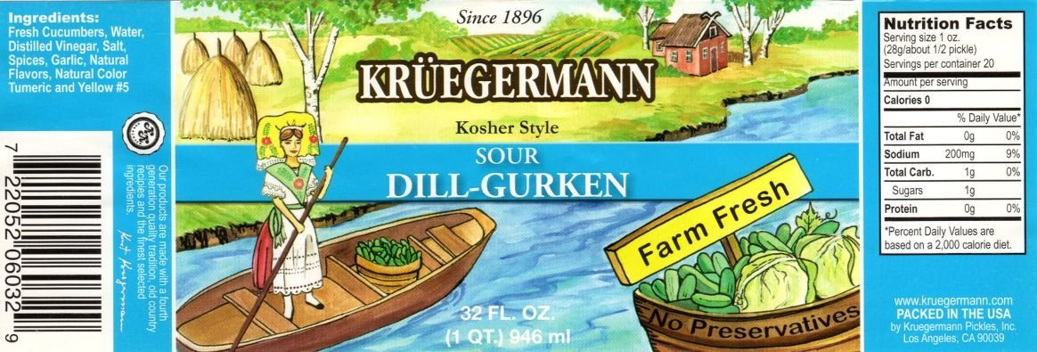 SHIPS FREE Get 2 (32 fl.oz.) Jars of Kruegermann Kosher Sour Dill-Gurken Pickles (64 floz total)