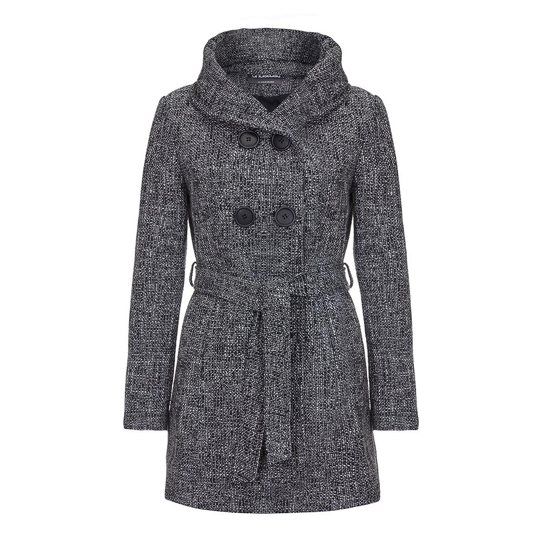 Anastasia - Schwarz Tweed Kapuzenmantel Mit Gürtel, Größe 40