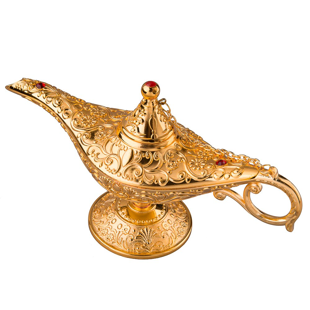 Feyarl Gold Aladdin Legend Magic Genie Light Lamp Pot Incense Burner with Gift Box for Home Deco (8.6 x 3 x 4.4 inches) …