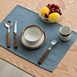 Keydo Linen and Cotton Placemats Heat-Resistant Stain Resistant Washable Table Mats Set of 6 Blue