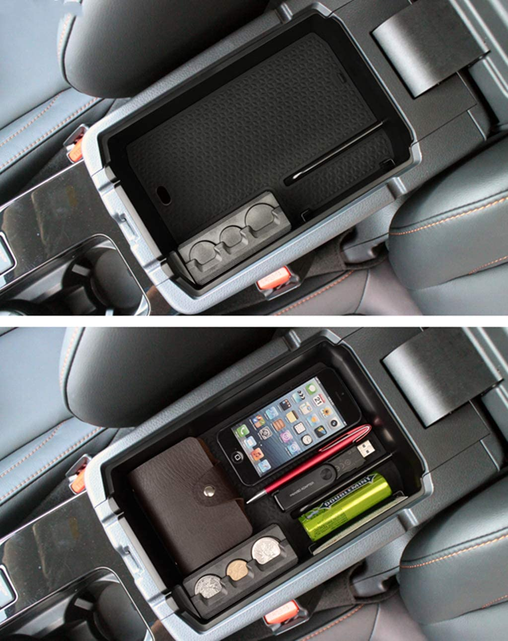 muchkey Armrest Storage Box Armrest Glove Box Organizer Container Car Accessory for Eclipse Cross ABS Silicone Non-Slip Bottom
