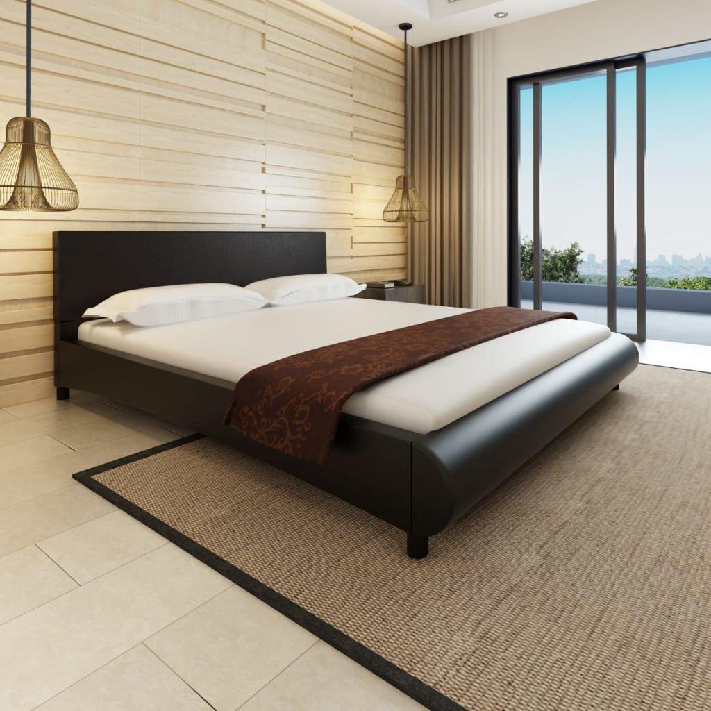 Lingjiushopping cama 180x 200 cm de piel artificial negra