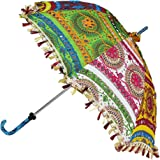 Rajasthani Handmade Cotton and Fabric Embroidered Decorative Umbrella for Ladies (24x28-inch)