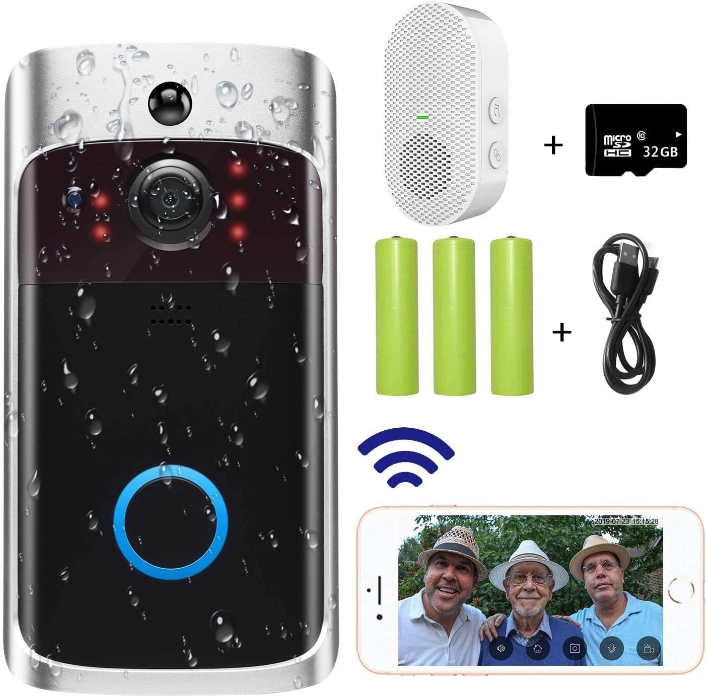 Video Doorbell Camera 2020 Upgraded , Wi-Fi with Smart PIR Motion Detection, Wide Angle, Night Vision, Real-Time Notification, Two-Way Talk, 32GB SD Card is Included Doorbell Chime