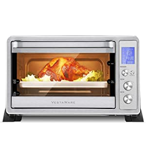 Vestaware Convection Toaster Oven, 27QT Smart Countertop Oven with 10 Presets, Toast Pizza Rotisserie Bake Broil, Digital LCD Display, 6 Accessories Included, Stainless Steel, 1500W
