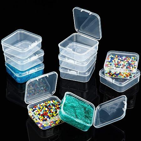 36 Mini Caja Cuadrada de Plástica Caja de Almacenamiento de Cuentas de Plástica Contenedores Pequeños de Cuentas Transparentes con Tapa Abatible para Pequeños Joyas (2,1 x 2,1 x 0,8 Pulgadas): Amazon.es: Hogar