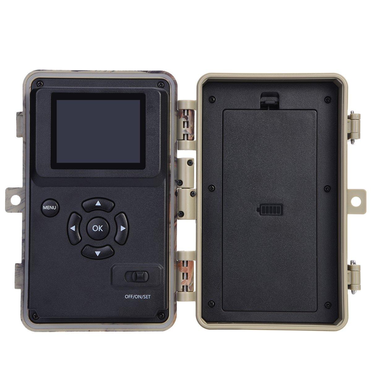 BlazeVideo C/ámara de Caza de Seguimiento de la C/ámara de V/ídeo 16MP 1080P Detector de Movimiento 65 Pies de Infrarrojos de Visi/ón Nocturna 38pcs Negro LED un 2,4 Pantalla LCD Colorido