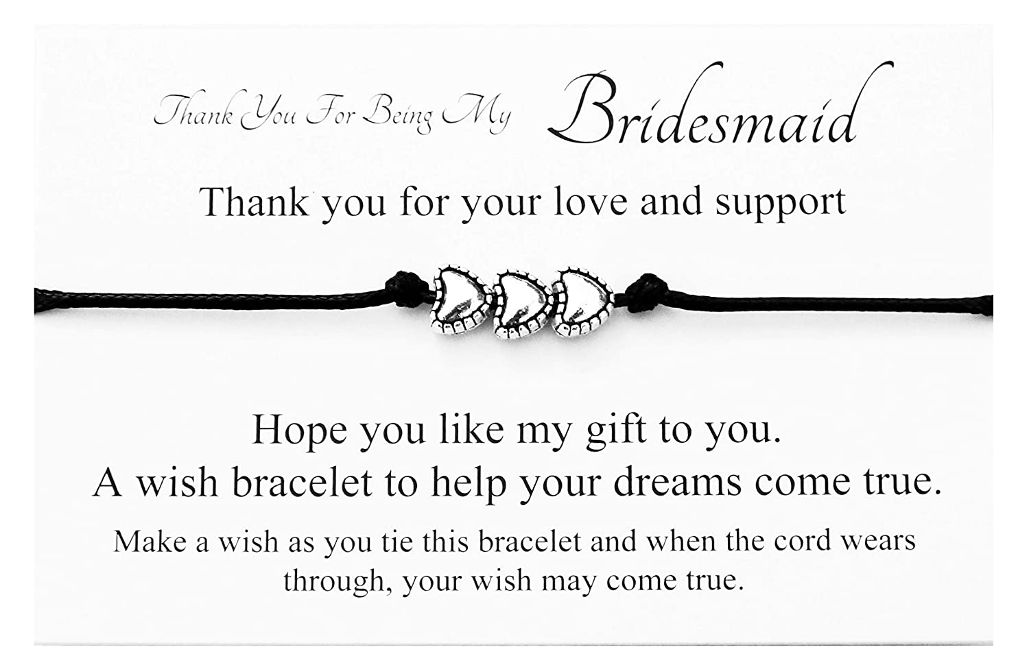Thank You For Being My Bridesmaid Wedding 3 Herzen Charme Wish ...