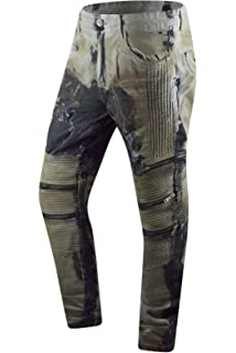 ouxiuli Men Zipper Biker Jeans Ripped Distressed Denim Stretch Moto Pants