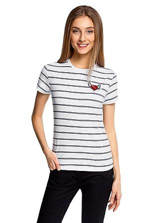 7e32a5dffc0c9 oodji Ultra Femme T-Shirt à Rayures avec Écusson, Blanc, FR 36 /